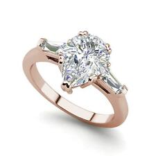 Cut Diamond Engagement Ring Rose Gold Baguette Accents 1.25 Ct Vs1/H Pear