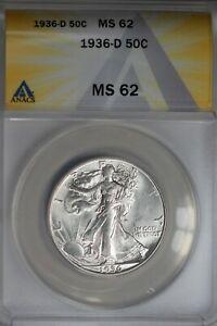 1936-D  .50   ANACS  MS 62  Walking Liberty, Half Dollar, Lady Liberty Half
