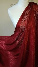 "5M WINE  RED  COLOURED BURNOUT CHIFFON FABRIC 45"" WIDE"