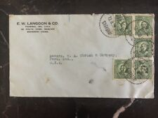 1936 Shanghai China Commercial Cover Ew Langdon To Peru IN USA