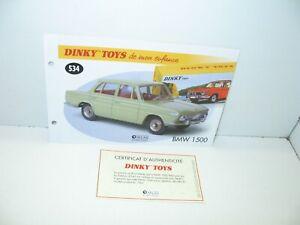 1 Sheet + Certif. Dinky Toys Atlas Repro Ref 534, Car BMW 1500