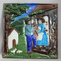 Vintage CAST IRON Hand Painter ENAMELED TILE