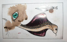 Abstract surrealist ink drawing portrait signed