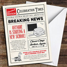 Newspaper Celebration Times New School Personalised Good Luck Card