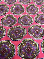 almost 3 yards of pink lightweight coruroy fabric with purple medallions - New