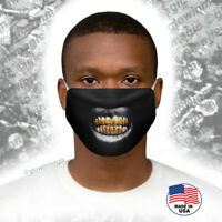 Gold teeth Grillz - Black Bling 3D face mask -Cool,Funny,Washable -Free Shipping