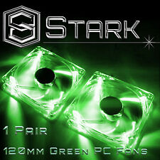 Green 120mm 4-LED Quad Light Neon PC Computer Case Clear Cooling Fan Mod x2