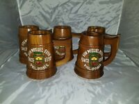 Lot of 5 Vintage SAN MIGUEL BEER Large Wooden Stein Tankard Mugs PHILIPPINES