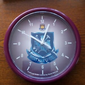 Official West Ham United Crest Wall Clock - FREE POSTAGE!