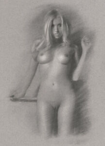 Nude Female ORIGINAL DRAWING Charcoal Art blonde Naked woman girl NO RESERVE n/r