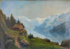 Théodore LEVIGNE, huile sur toile, lac de Montagne, environ 65x46 cm