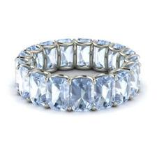 3.40 Ct Genuine Aquamarine Eternity Band 14K White Gold Gemstone Ring Size L M N
