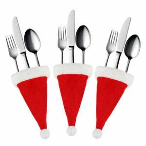 Santa Hat Christmas Cutlery Holder Knife Fork Bag Cover Tableware Decoration