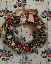 "Vintage Christmas Japan Bottle Brush Fruit Wreath 8"""