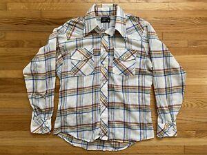 Vintage Mens Western\u00a0Cowboy\u00a0Pearl Snap Plaid Long Sleeve Shirt\u00a02XL XXL
