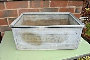Vintage Industrial Galvanised Metal box - Storage / Planter