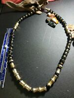 """Heavy black and gold washed tone metal beaded 28"""" Necklace"""