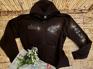 New Women's Superbowl Champions Philadelphia Eagles Zip Up Jacket Hoodie sz XL