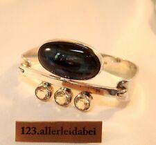 Labradorit Armreif 925 er Silber Finnland 1974 Bergkristall Armreifen / AZ 239