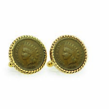 NEW Civil War Indian Head Penny Goldtone Rope Bezel Coin Cuff Links 12732