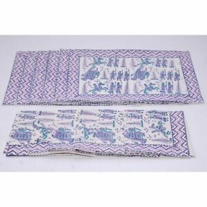 Cotton Dining Set With 6 Napkins & 6 Place-Mats Runners Handblock Printed