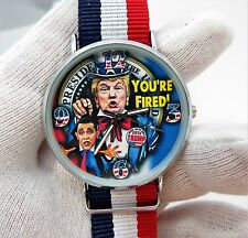 """DONALD TRUMP,""""Your Fired Obama"""" Red,White & Blue Band,MEN'S CHARACTER WATCH,M-37"""
