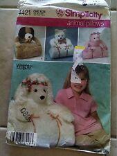 Simplicity 4421 Animal Pillows & Floor Mats Poodle Bear Pig Dog UNCUT
