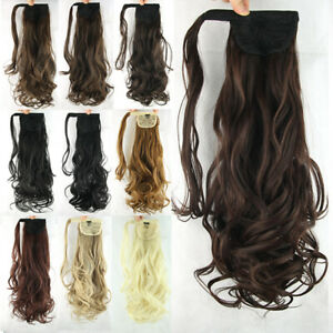 Long Curly Wave Ponytails Synthetic Clip in Hair Piece Hair Extensions As Human