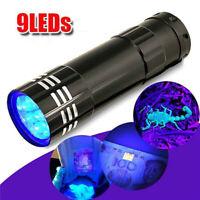 ALS_ Mini Aluminum UV Ultra Violet 9 LEDs Flashlight Blacklight Torch Light Lamp