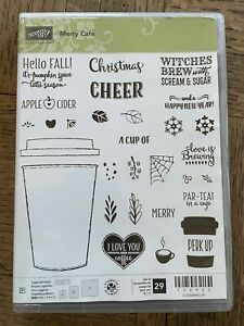 Stampin Up MERRY CAFE Stamp set ~ Christmas Cocoa, Coffee Pumpkin spice Latte