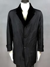 K RED KITON Black Beaver Fur Lining Men's Trench Coat Jacket Italy Size 52 US XL