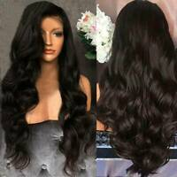 "26"" Ladies Black Brown Long Curly Wigs Womens Ombre Party Wavy Hair Cosplay Wig"
