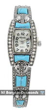 ladies vintage look turquoise inlay silver designer-style fashion watch