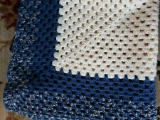 SOFT Hand-Knit Crocheted Afghan Throw Square 35 x 35 Blue Beige