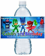 20 PJ MASKS BIRTHDAY PARTY FAVORS WATER BOTTLE LABELS ~ waterproof ink