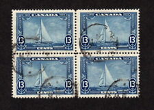 CANADA USED BLOCK OF 4 STAMPS SCOTT # 216 PERF SEPARATION BETWEEN TOP 2