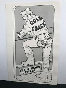 Original GOLD COAST Gay Bar Poster USA's 1st Leather Bar Chicago Etienne 1970's