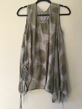 MOYURU Lagenlook Art To Wear Dot Ruched Cotton Tunic Two Way Top Olive Green L