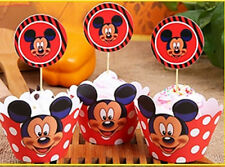 12 x Mickey Mouse Cupcake Cup Cake Decorating,Toppers Wrappers PARTY DECORATION