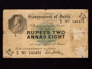 India:P-2,2 Rupee & 8 Annas,1917 * Calcutta * King George V * VG-F *