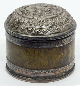 1800's Antique BURMESE Hammered REPOUSSE SILVER Burma BETEL NUT Box Canister