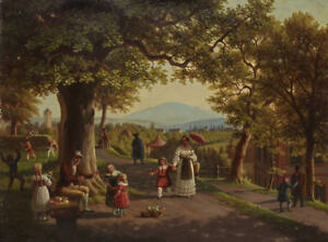 "perfect oil painting handpainted on canvas ""Landscape with figures ""@12715"