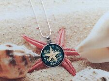 NAUTICAL BLUE RESIN REAL STARFISH PLATED SETTING STERLING SILVER CHAIN PENDANT