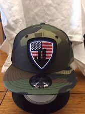 New Era NE400 Camo Flat Brim Snapback Hat/Cap American Flag NYC 9/11 WTC Patch