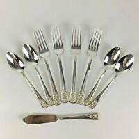 Vintage 1940 Silver Belle Silverplate Silverware 9 pcs Fork Spoon Butter Knife