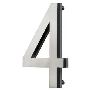 5 in. Satin Nickel LED Backlit House Number 4