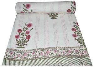 Indian Vintage Quilt Kantha Block Print Bedspread Cotton Blanket Ralli Gudari