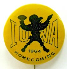 "1964 IOWA HOMECOMING football 2"" pinback button ^"
