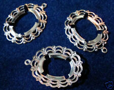 Vertical Pronged (pk 12) 0464 Pendant Lace Oval Silver Plated 13x18mm