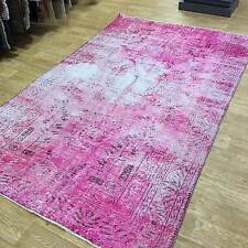 Large Washed Pink Persian Destressed Handmade Antique / Vintage Rugs 168x284cm